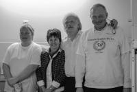 Het barteam: Kristel, Anita, Theo, Johan